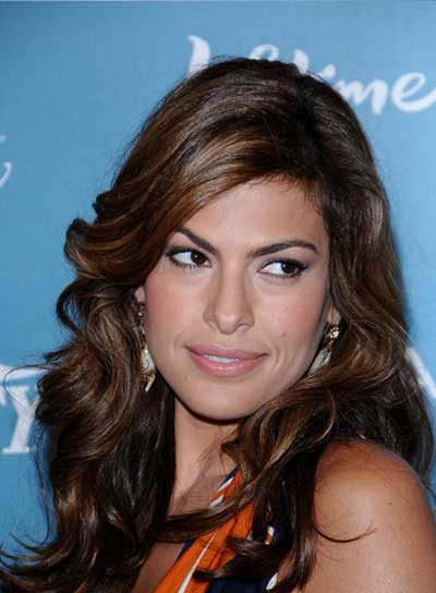 Eva Mendes Curly, Sexy, Brunette Hairstyle with Highlights