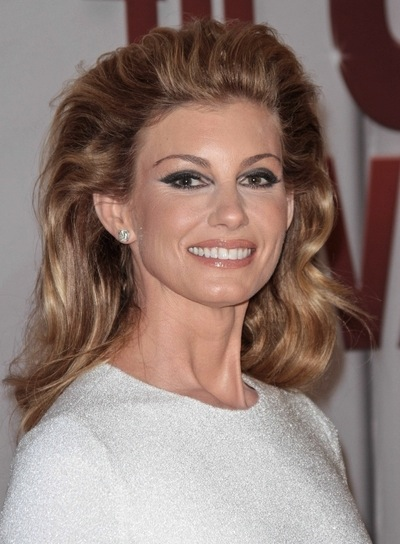 Faith Hill Thick, Edgy, Blonde Hairstyle with Highlights