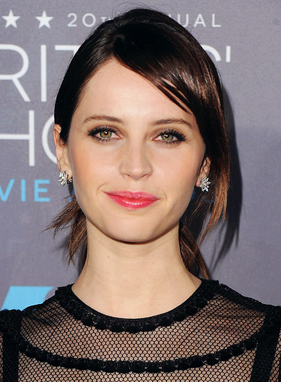 Felicity Jones with a Layered, Brown, Ponytail Hairstyle with Bangs Pictures