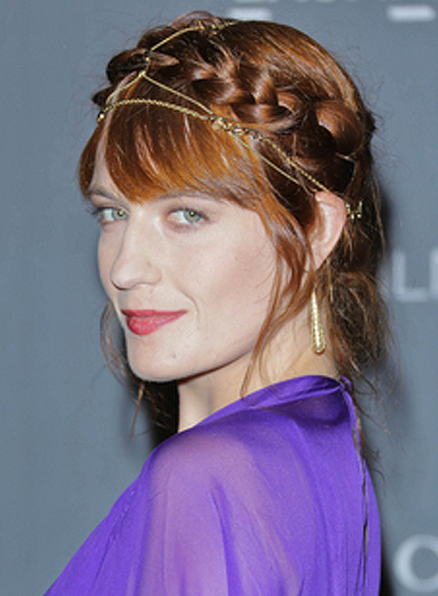 Florence Welch's Romantic, Chic Hairstyle with Bangs, Braids and Twists