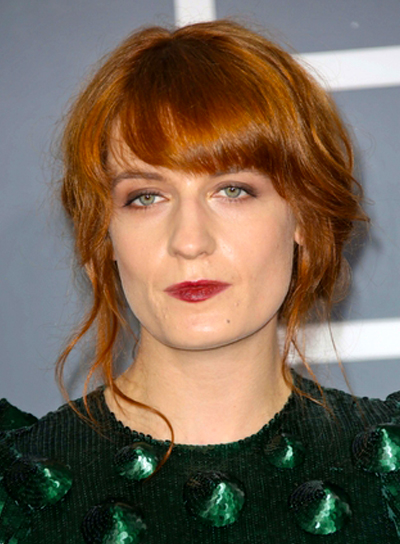 Florence Welch's Tousled, Red, Updo Hairstyle with Bangs