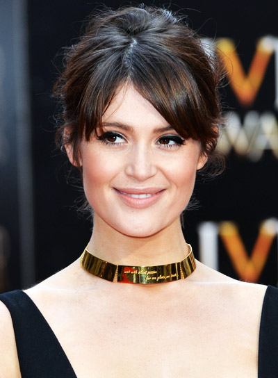 Gemma Arterton with a Medium, Black, Romantic, Updo Hairstyle Pictures