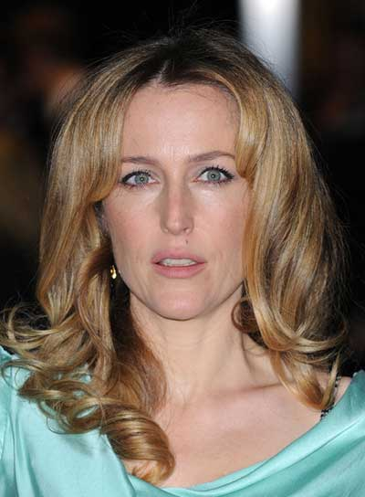 Gillian Anderson Medium, Curly, Romantic, Blonde Hairstyle