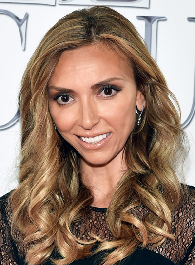 Giuliana Rancic's Long, Brunette, Curly, Party Hairstyle with Highlights