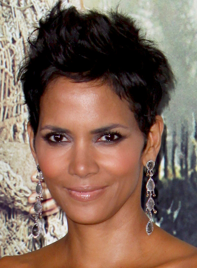 Halle Berry's Short, Funky, Brunette, Party, Hairstyle