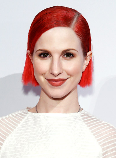 Hayley Williams with a Short, Red, Straight, Edgy Hairstyle
