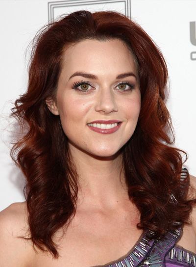 Hilarie Burton Medium, Red, Curly Hairstyle