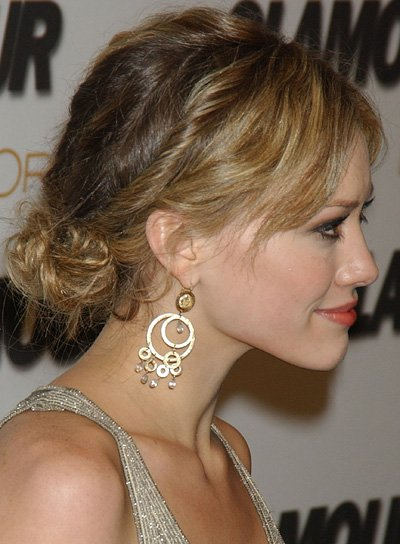 Hilary Duff Romantic Updo with Bangs