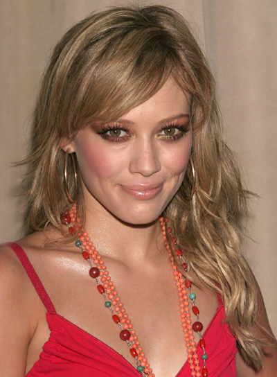 Hilary Duff Long, Tousled Hairstyle with Bangs
