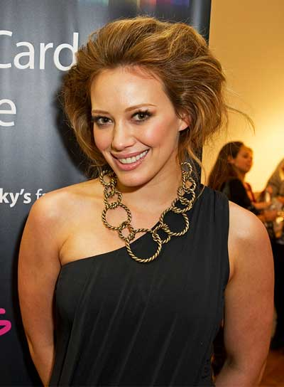 Hilary Duff Party, Edgy, Tousled, Brunette Updo