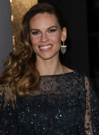 Hilary Swank Long, Curly, Romantic, Formal, Brunette Hairstyle