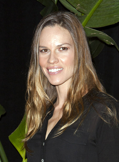 Hilary Swank Long, Tousled, Brunette Hairstyle