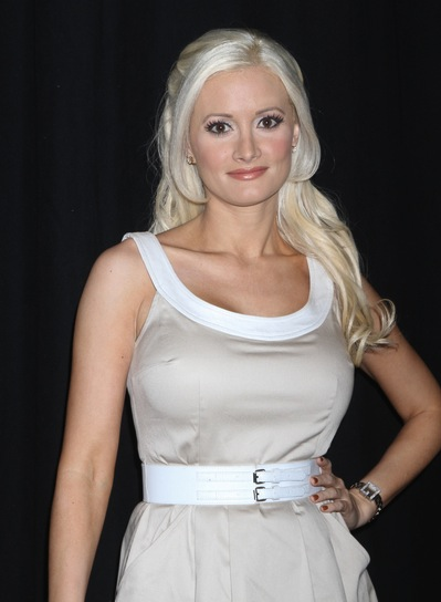 Holly Madison Chic Half Updo with Bangs