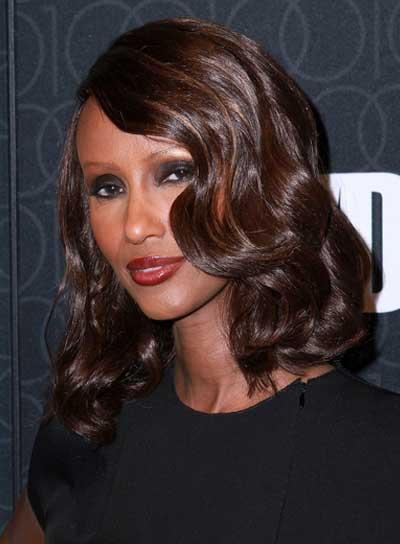 Iman Medium, Romantic, Wavy, Brunette Hairstyle