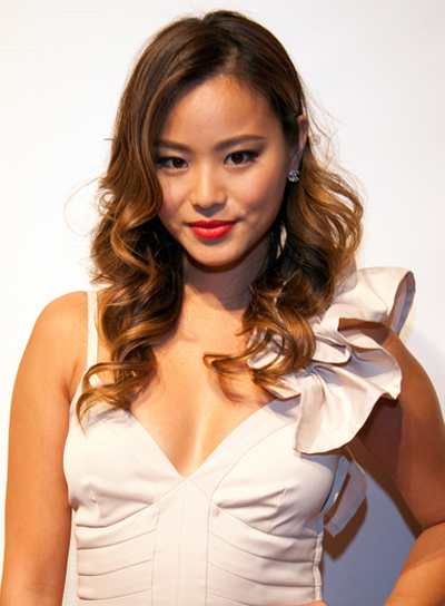 Jamie Chung Long, Curly, Romantic, Brunette Hairstyle with Highlights