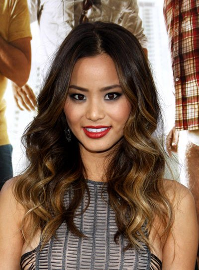 Jamie Chung Curly, Brunette Hairstyle with Highlights
