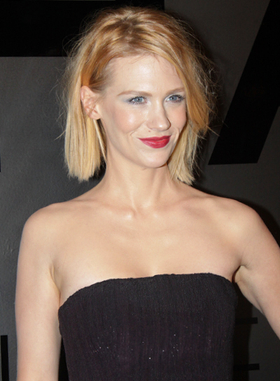 January Jones' Edgy, Tousled, Medium, Blonde, Hairstyle