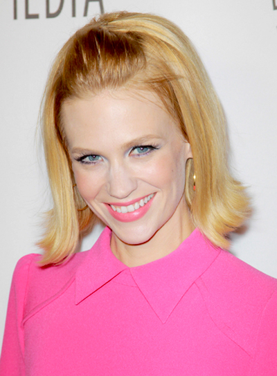 January Jones' Medium, Blonde, Chic, Half Updo Hairstyle