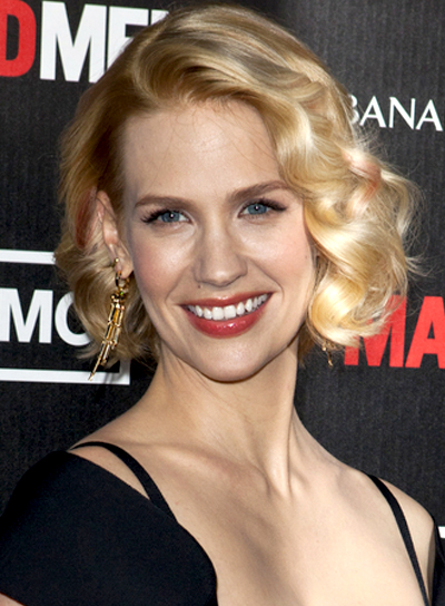 January Jones' Short, Curly, Romantic Hairstyle
