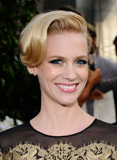 January Jones Straight, Romantic, Blonde Updo