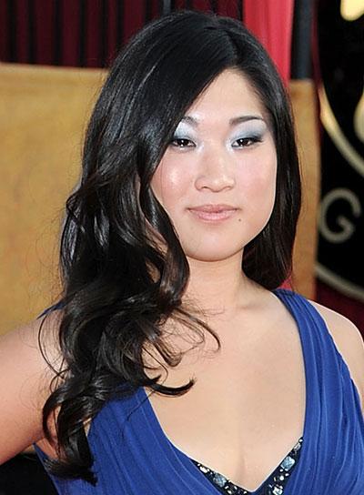 Jenna Ushkowitz Curly, Romantic, Black Hairstyle