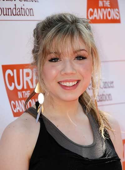 Jennette McCurdy Long, Tousled, Chic, Blonde Ponytail with Bangs