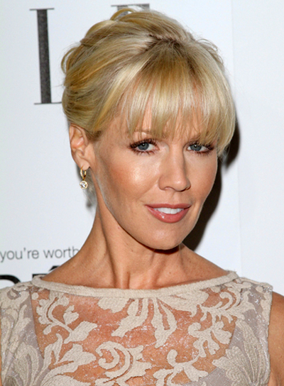 Jennie Garth's Sophisticated, Blonde, Updo, Hairstyle with Bangs