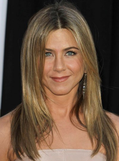 Jennifer Aniston Straight, Layered Hairstyle with Highlights