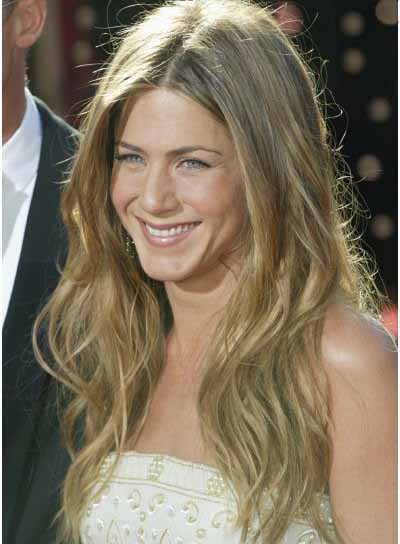Jennifer Aniston Long, Tousled Hair with Highlights