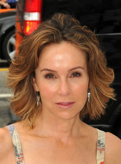 Jennifer Grey Short, Tousled, Sexy, Brunette Hairstyle with Highlights