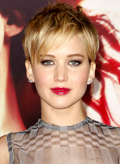 Jennifer Lawrence Short, Blonde, Pixie Hairstyle with Bangs