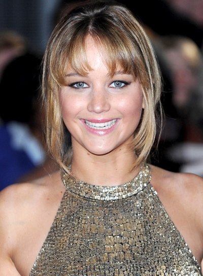 Jennifer Lawrence Long, Tousled, Updo, Formal Hairstyle with Bangs