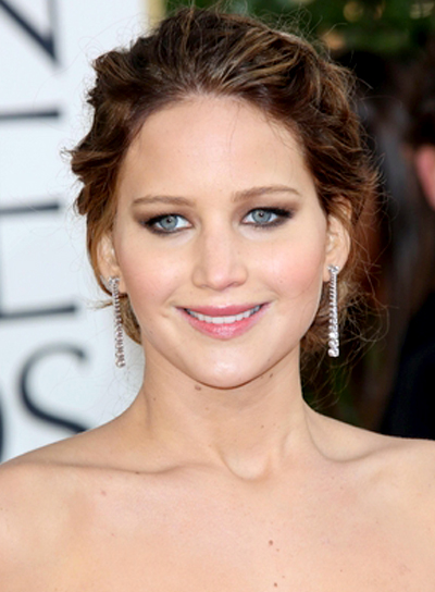 Jennifer Lawrence's Wavy, Romantic, Brunette Updo Hairstyle