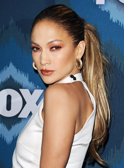 Jennifer Lopez with a Long, Straight, Sophisticated, Ponytail Hairstyle Pictures