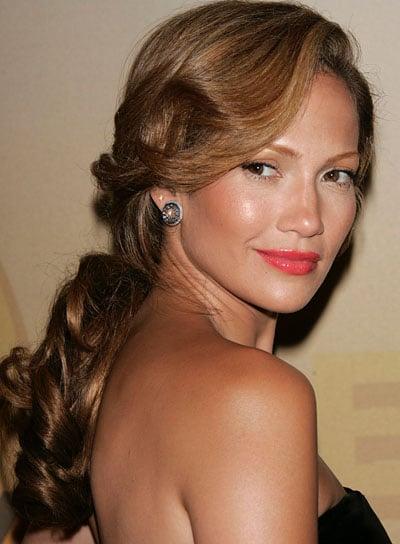 Jennifer Lopez Brunette, Curly, Long Ponytail