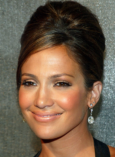 Jennifer Lopez Brunette, Straight, Chic Updo