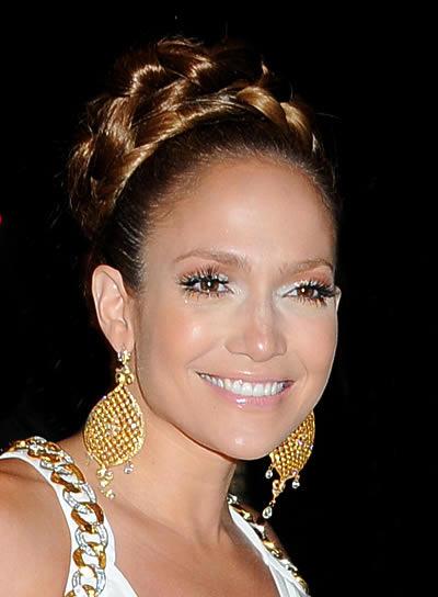 Jennifer Lopez Updo with Braids and Twists