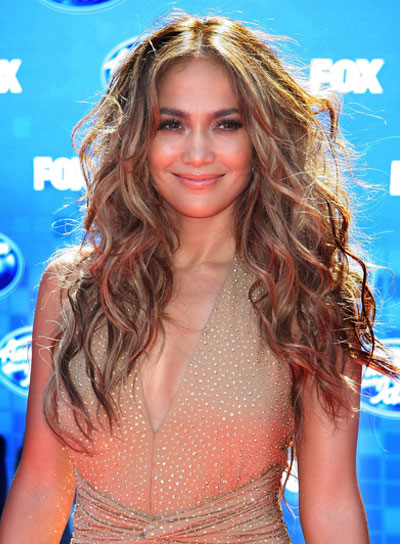 Jennifer Lopez Long, Wavy, Tousled Hairstyle