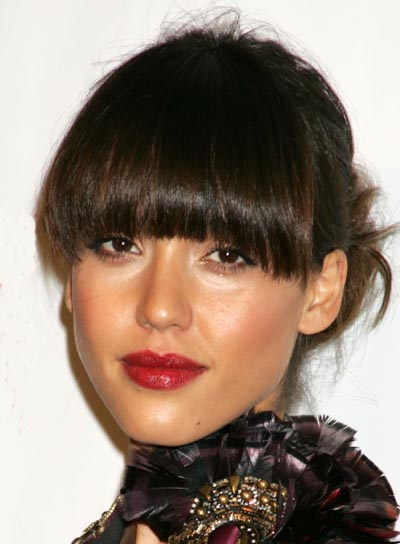 Jessica Alba Updo with Bangs