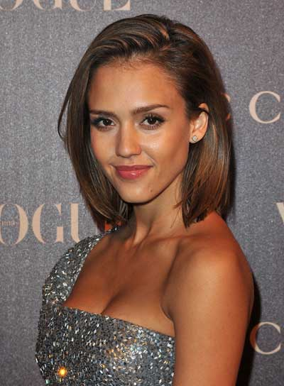Jessica Alba Short, Straight, Sexy, Tousled, Brunette Bob with Highlights