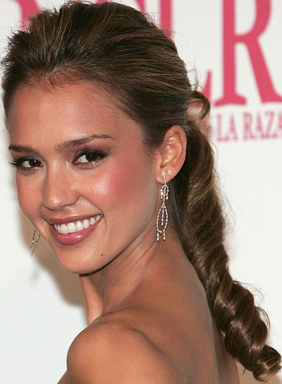 Jessica Alba Long, Curly Ponytail