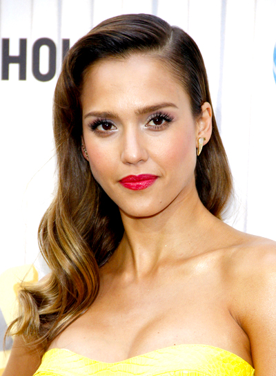 Jessica Alba's Long, Formal, Romantic, Wavy Hairstyle
