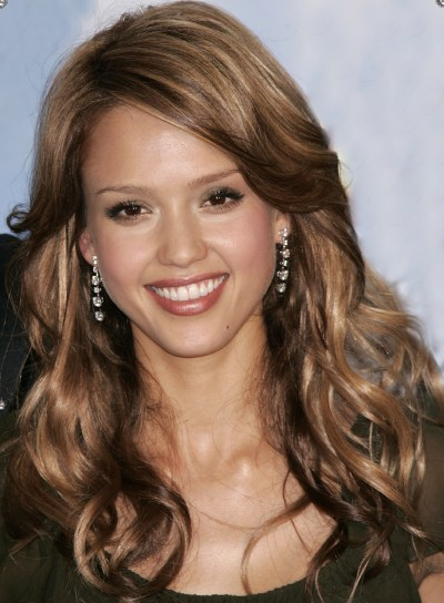 Jessica Alba Long, Curly Hairstyle with Highlights