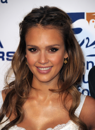 Jessica Alba Long, Layered, Wavy, Brunette Half Updo with Braids and Twists