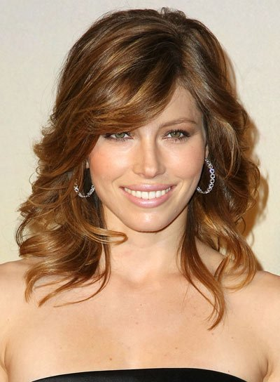 Jessica Biel Medium, Curly, Fine Hairstyle with Bangs