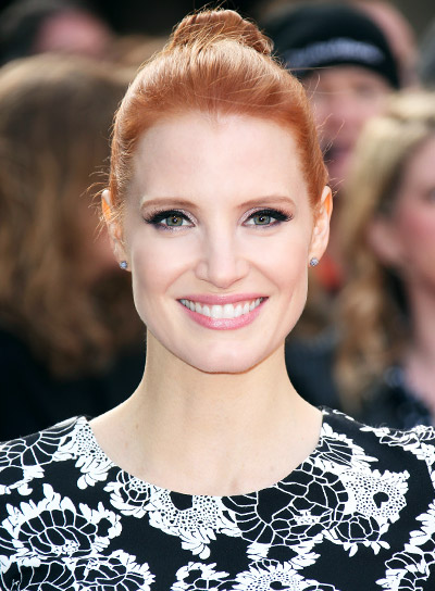 Jessica Chastain with a Long, Red, Sophisticated, Updo Hairstyle Pictures