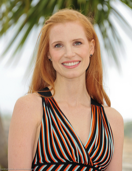 Jessica Chastain's Long, Straight, Red Hairstyle with Braids and Twists