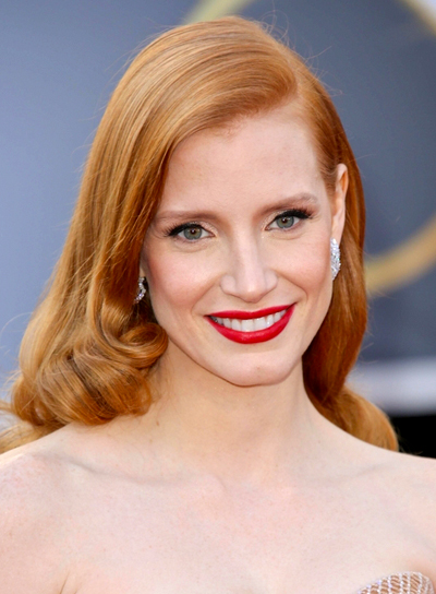 Jessica Chastain's Long, Wavy, Formal, Romantic Hairstyle
