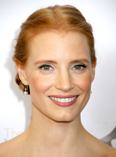 Jessica Chastain's Red, Romantic, Updo Hairstyle with Braids and Twists