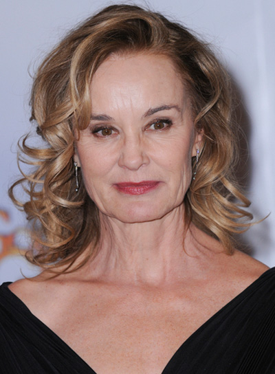 Jessica Lange Medium, Curly, Blonde Hairstyle
